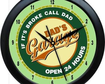 "Dad's Garage 12"" Man Cave Wall Clock Gift Decore Garage Carpenter Body Shop"