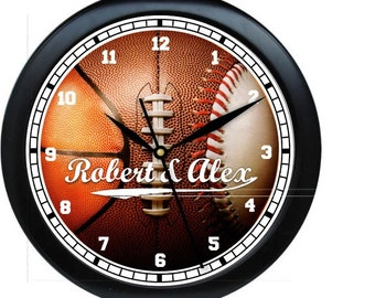 "Ball For All Seasons Personalized 10"" Wall Clock Booster Club Fundraiser Teacher Gift"