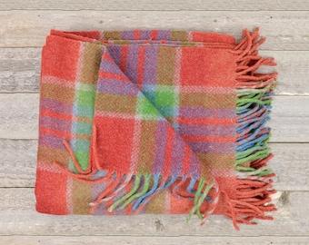 Vintage Wool Camp Blanket in Red Blue & Green  / Fringed Plaid Blanket / Plaid Camp Throw