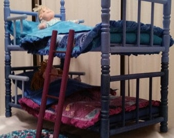 "Beautiful shades of blue sparkle. Licensed Character Doll Bunkbed with 2, 12"" Beanie Bopper dolls and accessories"