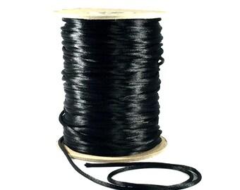 3mm Black Satin Cording / 3mm Black Cording / 3mm Black Rattail / 10 FEET