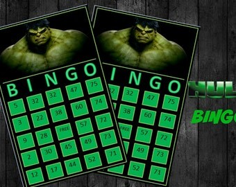 Hulk Bingo Game with 14 unique Bingo cards and 75 medium calling cards - Printable, INSTANT DOWNLOAD