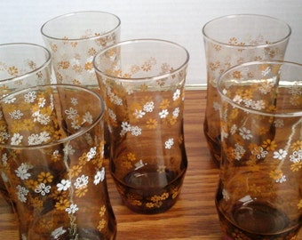 8 Tawny Strawflowers Glasses, Vintage Libby Tumblers, Daisy pattern on Brown Drinking Glasses