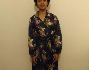 vintage 70s maxi dress floral small 10 12 hippie boho festival kimono style