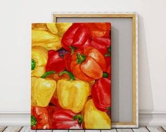 Canvas print - pepper painting watercolor.Food art print. kitchen print
