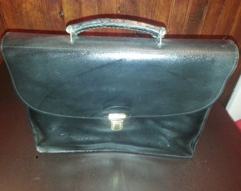 VINTAGE black leather Briefcase