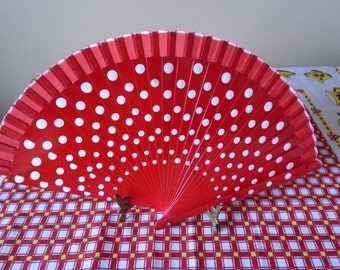 hand painted red polka dot fan