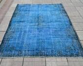 Dark Turquoise rug. Overdyed carpet. Handmade vintage rug. Turkish carpet. Turkish rug. Free shippig. 9.2 x 5.7 feet. (2.81 x 1.76 cm)