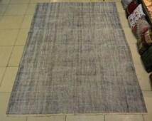 Turkish Overdyed rug. Handmade vintage rug. Turkish carpet. Faded gray rug. Free shipping. 9.3 x 6.2 feet. (2.85 x 1.89 cm)