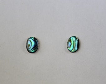 Oval abalone silver earrings