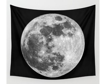 Full Moon Wall Tapestry, Wall Hanging, Moon Wall Art, Large Photo Wall Art, Modern Tapestry, Home Decor