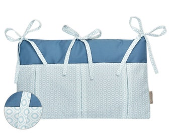 KraftKids bed bag - white eyes on Pastelblau with graphite blue
