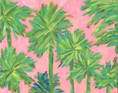 Lilly Pulitzer Inspired Palm Tree Canvas Painting