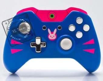 Custom Xbox One Controller 3.5mm - Overwatch D.VA DVA with Chrome Silver Accents