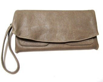The Clutch Purse - Grey leather