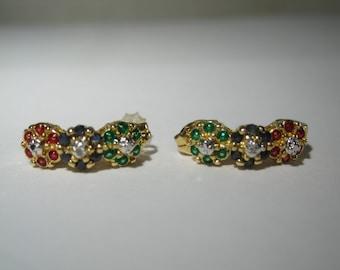 Vintage Sterling Silver Multi Colored Gemstone Earrings