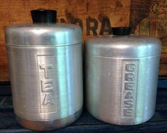 Vintage Aluminum kitchen canisters - random pair
