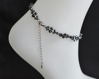 Swarovski crystal anklet hematite 2x glittering black