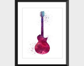 Guitar Music Decor Watercolor Splattered Art Print, Musical Instrument Printable Art, Instant Digital Download