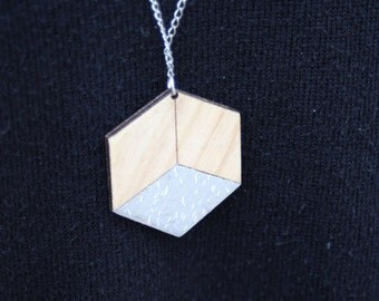 Necklace / / holographic / / glitter / / wood