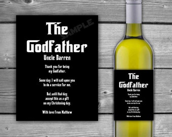 PRINTABLE - Personalized Godfather Wine Label - Custom Wine Label - Baby Thank You For Being My Godfather - DIGITAL - Wine Label - 0084