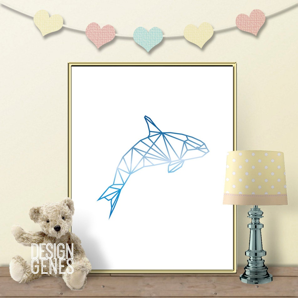 Geometric line whale nursery wall art printable wall art for Art decoration pdf