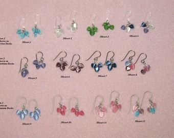 3 Tiny Hearts, Titanium,Nylon or Niobium Hooks/Hearts/Dangle Earrings/Turquoise/White/Green/Purple/Amethyst/Pink