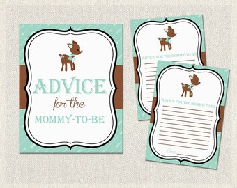 Advice for the mommy to be | Deer Baby Shower Activities Green Brown | Advice for Parents  Gender Neutral BS-181
