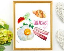 Bacon And Eggs Print, Bacon And Eggs, Egg Print, Bacon Print, Croissant Print, Food Print, Food Art, Breakfast Print, Watercolor Breakfast