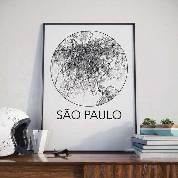 Sao Paulo, Brazil Minimalist City Map Print