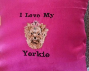 Embroidered Yorkshire Terrier (Yorkie) Cushion
