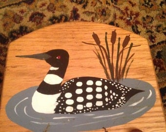 Lovely hand painted Minnesota loon on a wooden napkin holder