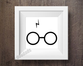 Harry Potter Inspired Print, Harry Potter Glasses and Scar Print, Harry Potter Fandom, Simple Minimalistic Wall Art, Typography Print