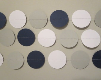 Navy Blue Gray White Ombre Paper Garland Backdrop Party Decor Bachelorette Photo Prop Backdrop