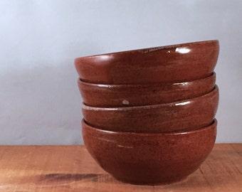 Dessert bowls, set of 4, Rusty Red Brown