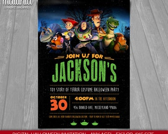 Toy Story Halloween Invitation - Toy Story Invite - Toy Story Halloween Invitation - Toy Story Halloween Party - Scary Woody Buzz