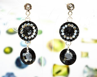 """Silver earrings with Swarovski crystals """"Graphite"""""""