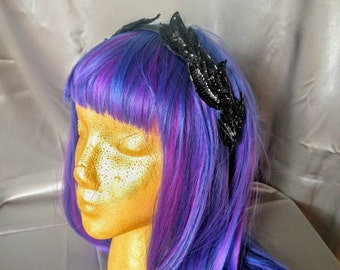 Black Sequin Leaves Double-Sided Headband - Grecian Roman Costume Cosplay Accessory