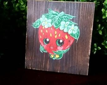 Strawberry kiss shopkins, rustic shopkins, shopkins room decor, wall hanging,