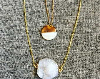 White Druzy and Gold Pearl