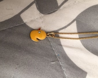 Gold Duck Necklace with Diamond Eye