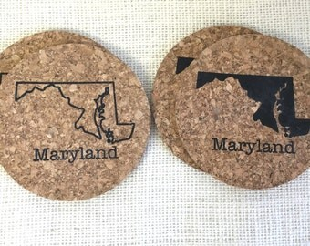 State of Maryland Cork Coasters