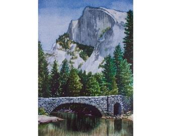 Art Print - Watercolor - Yosemite - Half Dome from Stoneman Bridge