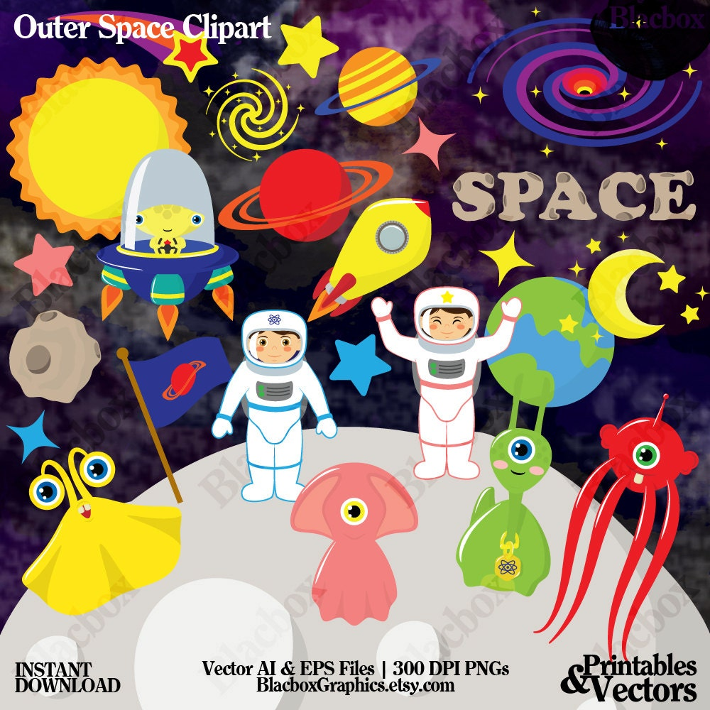Outer space clipart astronauts clipart aliens clipart for Outer space studios