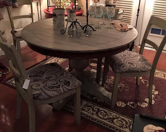 Pedestal Dining Table & Four Upholstered Chairs