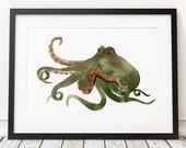 Octopus poster Nautical print Beach nursery decor Watercolor print ACW523
