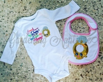 Made to Order Shopkins Ring embroidered baby bib and Onesie set