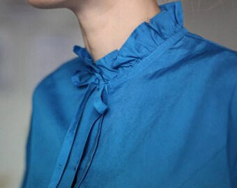 Vintage French Blue Ruffled Blouse 80s Eur 40