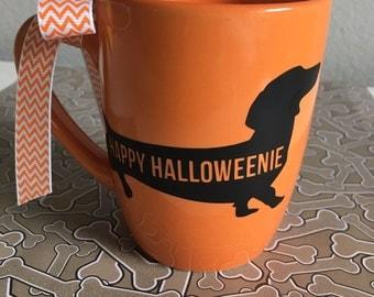 Halloween, Doxie, coffee mug, coffee cup, dachshund, dog, pet