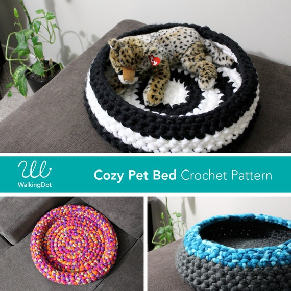 Crochet Pattern Cozy Pet Bed Cat Bed Small Dog Bed